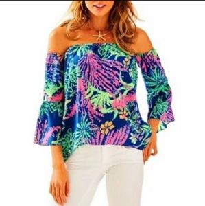 Lilly Pulitzer Sanilla Silk All A Glow Blouse